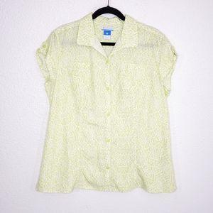 Columbia Green Printed Short Sleeves Blouse